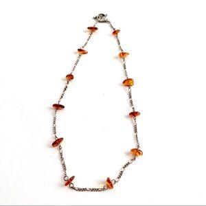 Vintage Amber Station Necklace Sterling Silver